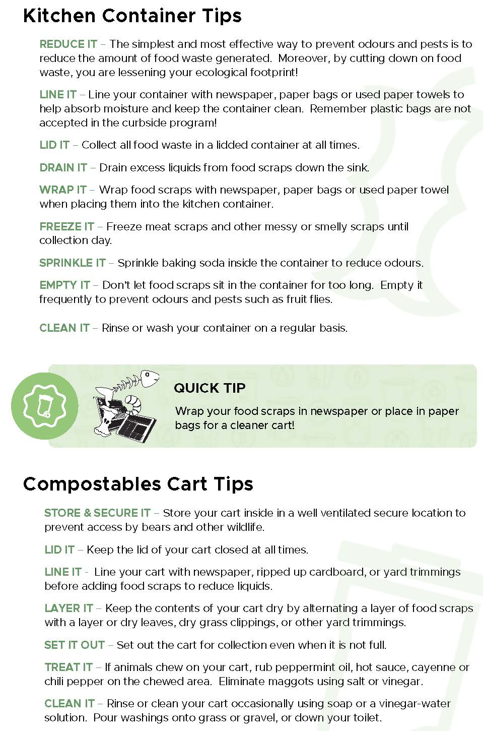 Kitchen Container and Compost Cart Tips